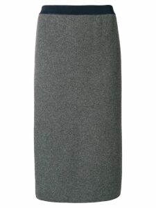 Thom Browne Vertical Stripe Wool Pencil Skirt - Grey