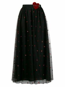 Red Valentino love heart mesh skirt - Black