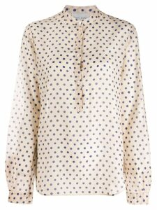 Forte Forte dotted band collar shirt - Neutrals