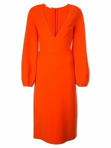 Oscar de la Renta plunge neck midi dress - Orange