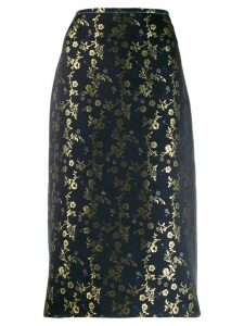 Marni gold-tone embroidered skirt - Blue