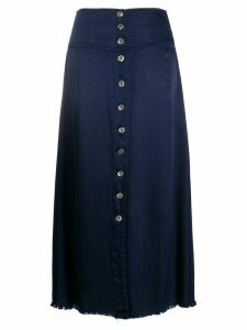 Raquel Allegra satin button front skirt - Blue