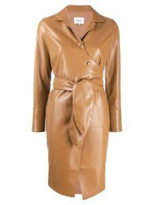 Nanushka faux leather wrap dress - Brown