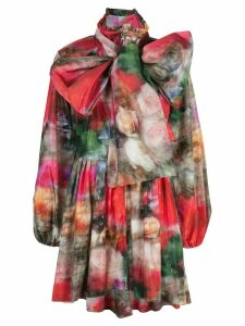 Adam Lippes floral print pussy bow coat - Multicolour
