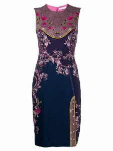 Versace Collection floral print fitted dress - Purple