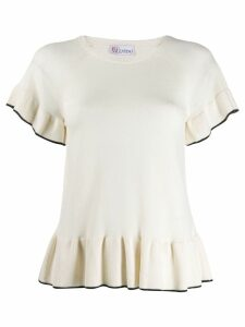 Red Valentino frill trim top - White