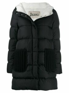 Herno padded coat with knit details - Black