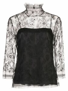 Adam Lippes lace high neck top - Black