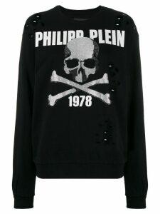 Philipp Plein Rhinestone Skull holey jumper - Black