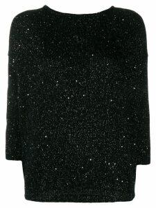 Patrizia Pepe sequin embroidered jumper - Black