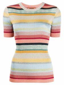 Missoni short-sleeved striped knit top - Neutrals