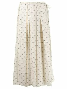 Valentino Vlogo print pleated skirt - Neutrals