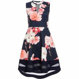 Quiz Navy And Pink Floral Dip Hem Dress