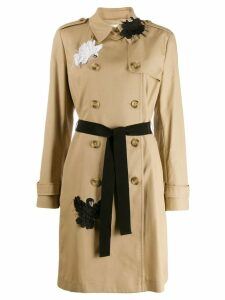 Red Valentino swan appliqué trench coat - Neutrals