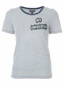 Emporio Armani patch-appliqué striped T-shirt - Blue