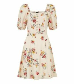 White Floral Print Mini Tea Dress New Look