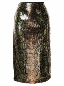 Nº21 snakeskin effect sequinned skirt - Gold