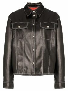 SJYP contrast stitch western leather jacket - Black