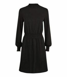 Black Shirred Neck Mini Dress New Look