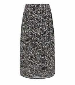 Black Leopard Print Wrap Midi Skirt New Look