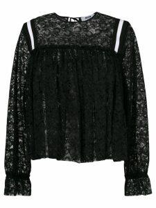 MSGM stripe detail lace blouse - Black