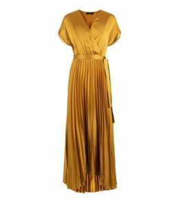 Tall Mustard Satin Pleated Midi Dress New Look