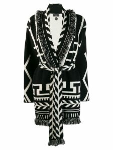 Alanui cashmere intarsia belted cardi-coat - Black