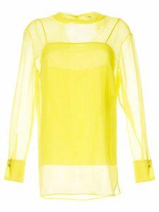Emilio Pucci bright yellow translucid blouse