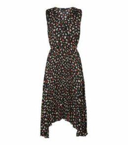 Black Floral Print V Neck Midi Dress New Look