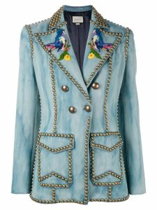 Gucci Embroidered studded denim blazer - Blue