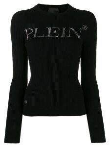 Philipp Plein rhinestone logo sweater - Black