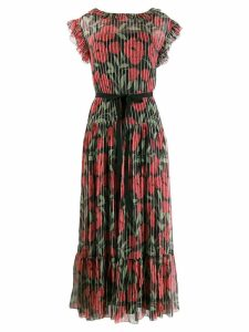 Red Valentino floral print pleated dress - Black