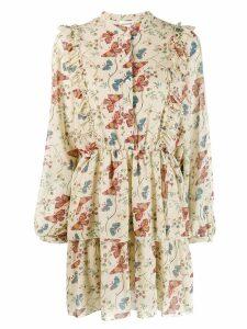 Semicouture floral mini dress - Neutrals