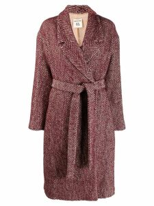 Semicouture herringbone coat - Red