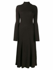 Erika Cavallini ribbed knit midi dress - Brown