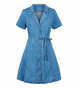 Pale Blue Denim Collared Tea Dress New Look