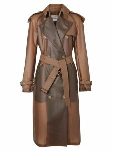 Burberry Leather Showerproof Trench Coat - Brown
