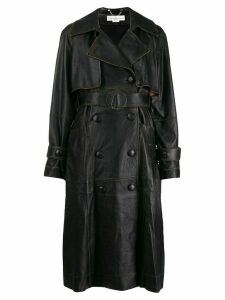 Golden Goose vintage style leather coat - Black