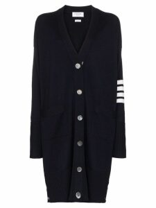 Thom Browne oversized stripe-detail cardigan - Blue
