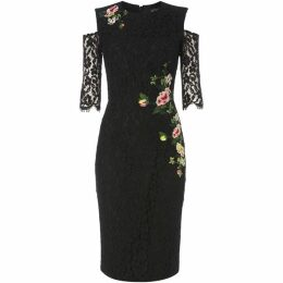 Little Mistress Cold shoulder embroidered bodycon dress