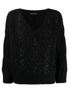 Ermanno Scervino Glass-embellished knit sweater - Black