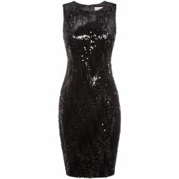JS Collections Sleeveless velvet beaded dress