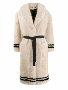 Ermanno Scervino belted faux-fur coat - Pink