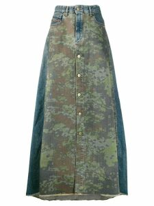 Diesel camo-printed denim skirt - Green