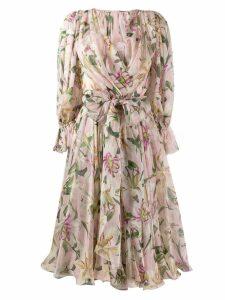 Dolce & Gabbana Lilium-print midi dress - Pink