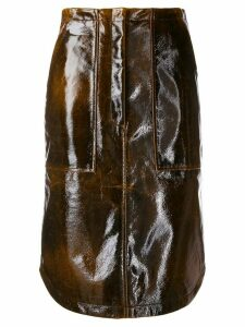 Erika Cavallini patent high waist skirt - Brown