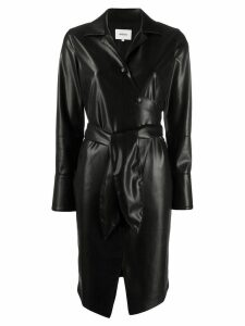 Nanushka leather effect wrap dress - Black