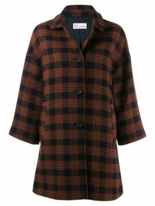 Red Valentino checked pussy bow coat - Blue