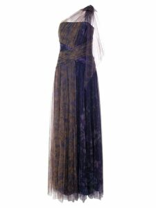 Marchesa Notte one shoulder dress - Blue