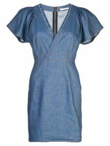 Derek Lam 10 Crosby Cap Sleeve Fitted Denim V-Neck Dress - Blue